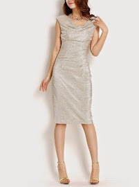 New Silver Metallic Cap-Sleeved Drap-Neck Dress