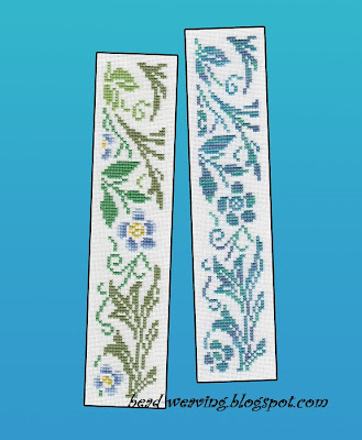 William Morris, counted cross stitch, tapestry, embroidery, bookmark, book mark, floral, flower, blue, forget me not, art nuevo, art deco, book mark, pattern, chart, free, cross stitch, xstitch, crossstitch