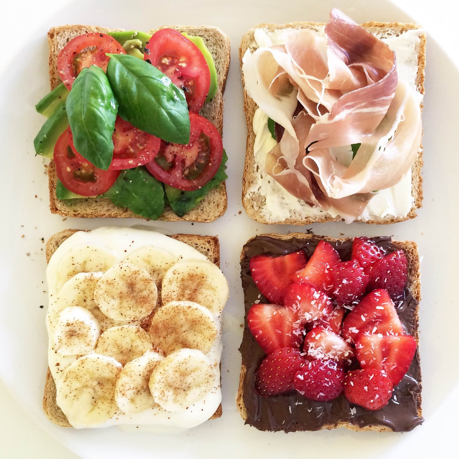 kristjaana mere healthy breakfast toast ideas banana peanut butter strawberry prosciutto avocado
