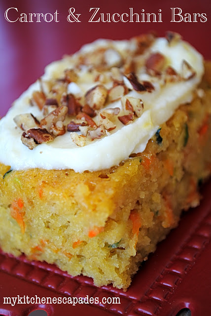 Zucchini recipe - Carrot & Zucchini Bars with Lemon Cream Cheese Frosting