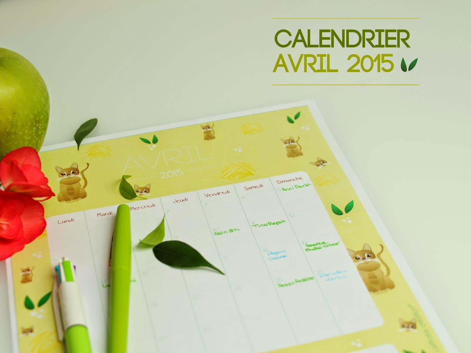 CALENDRIER gratuit avril