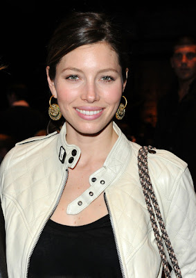 Jessica Biel Gold Hoop Earrings
