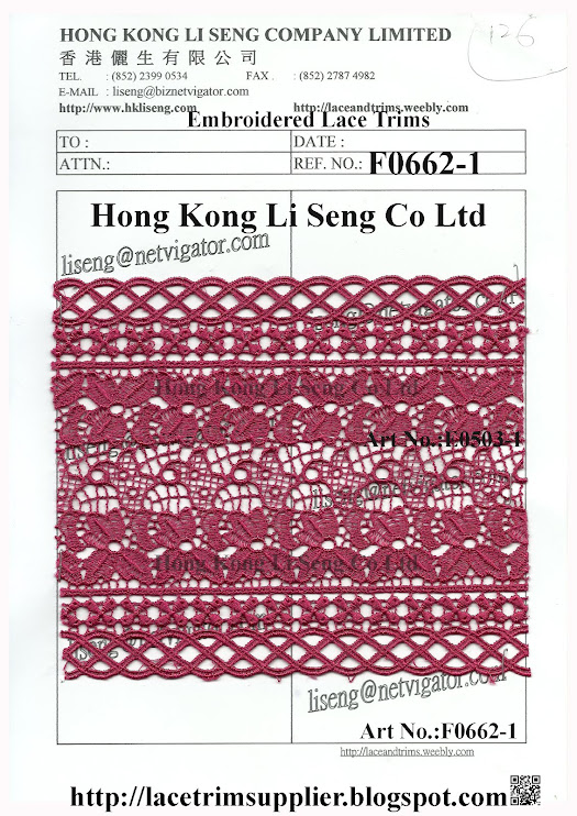 A good Stock Lot Lace Trims for Ready to Clothing Supplier: Hong Kong Li Seng Co Ltd