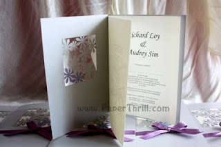 Purple daisy lace wedding invitation