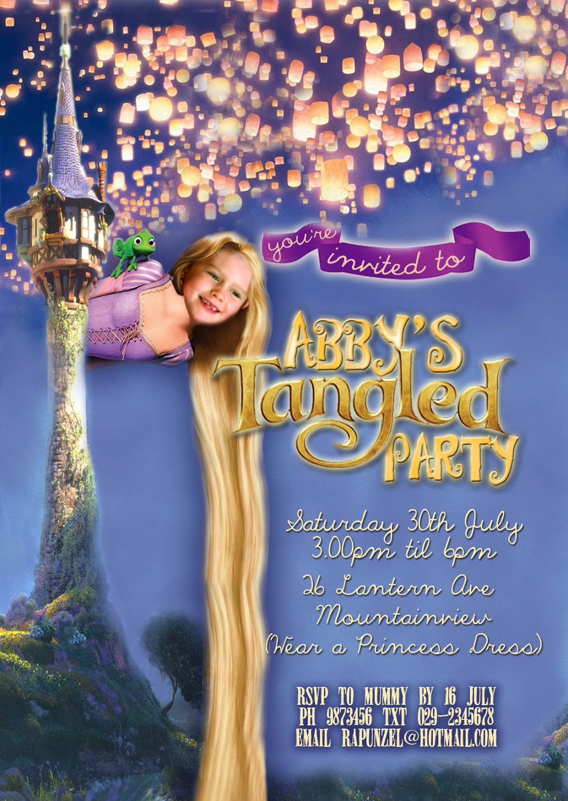 FREE Kids Party Invitations: Tangled Party Invitation