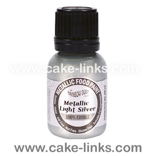 Metallic Light Silver  Edible Paint for cake decorating