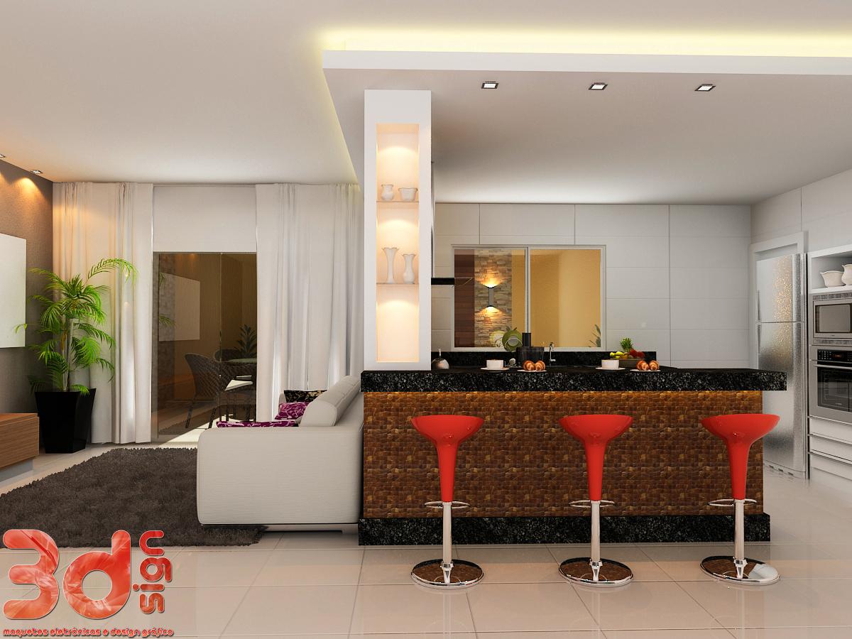 3dsign: Maquete cozinha área de lazer e banheiros #AE2B1D 1200 900