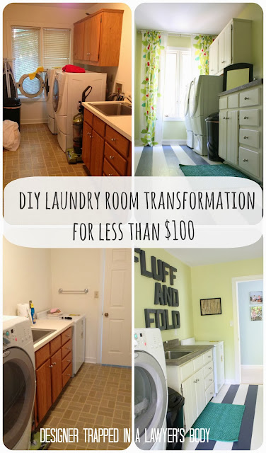DIY Laundry Room Renovation with Painted Floors by Designer Trapped in a Lawyer's Body {www.designertrapped.com}