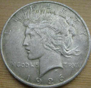 Peace Silver Dollar before cleaning