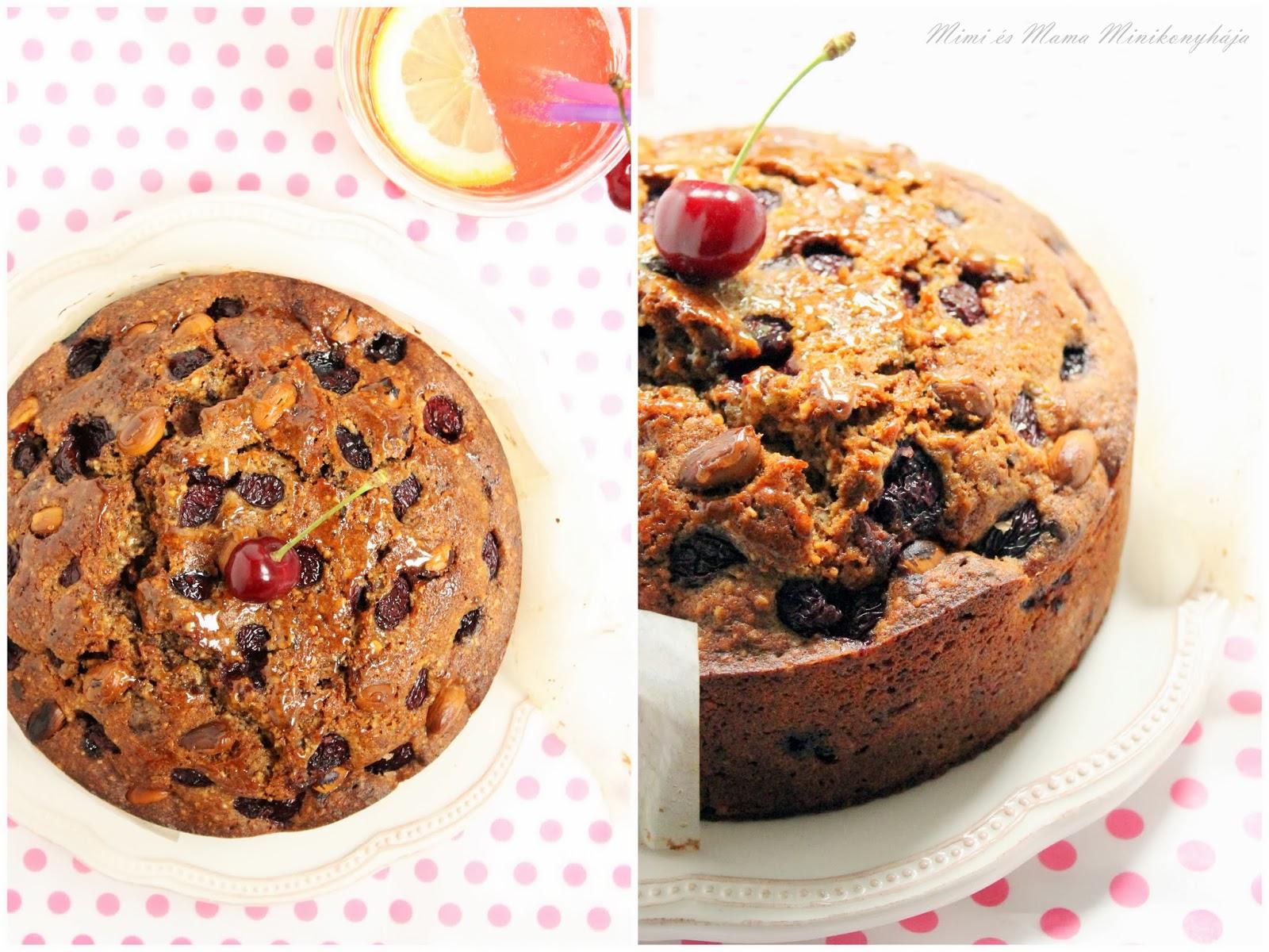 Cseresznyés csokis mogyorós torta