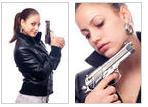Leather girl with a gun
