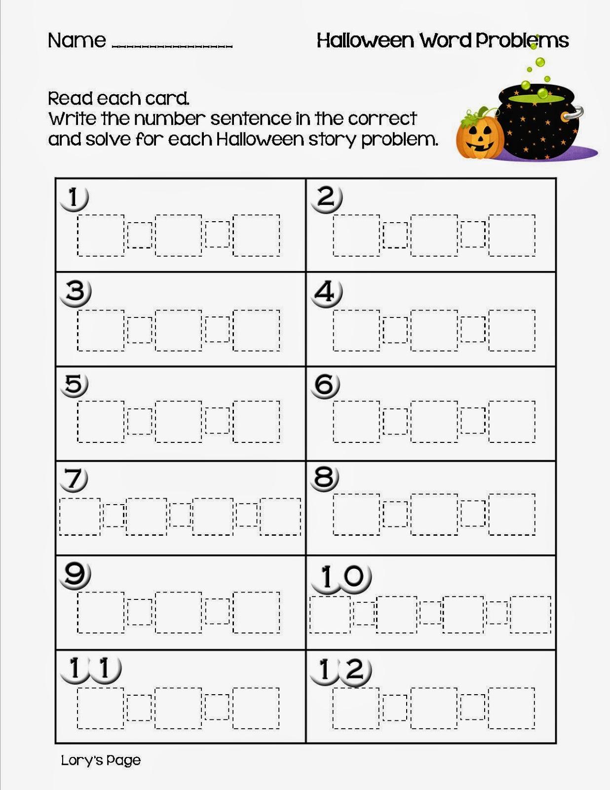 Halloween Math Word Problems 2nd Grade monster mayhem word – Halloween Math Word Problems Worksheets