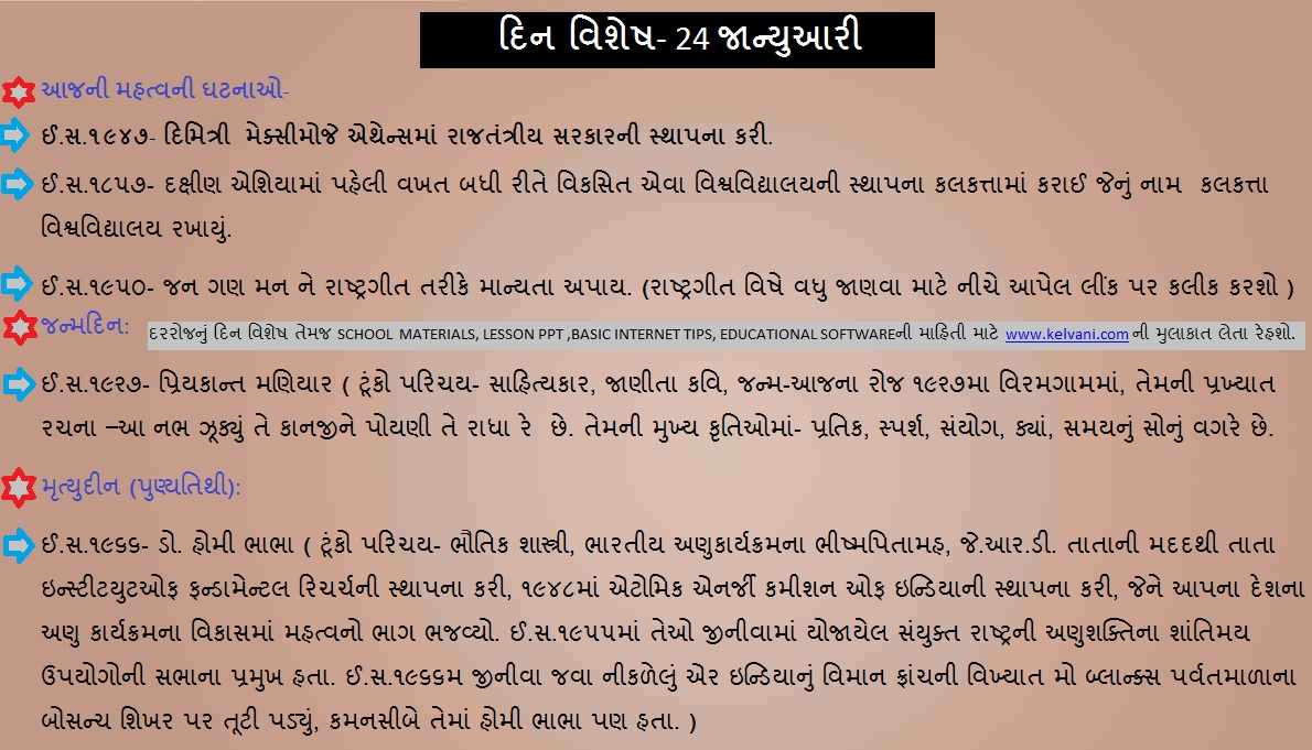 DIN VISHESH 24 JANUARY- IN GUJARATI