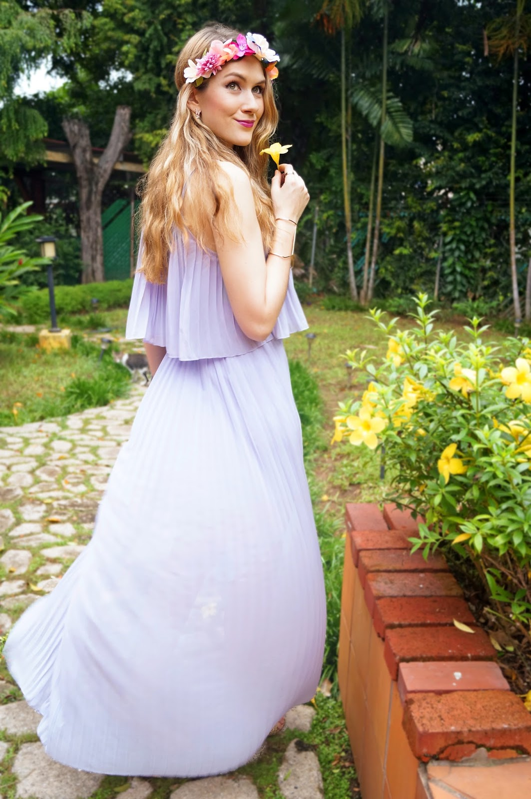 The Joy Of Fashion Outfit Lavender Dress And Floral Crown