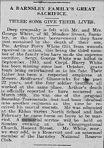 Newspaper cutting from 1918 - text paraphrased and explained in the rest of the article.