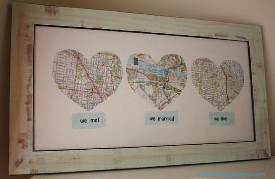 dekoracja  z mapy DIY