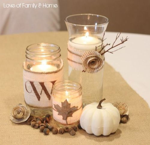 Easy fall candle holder decoration
