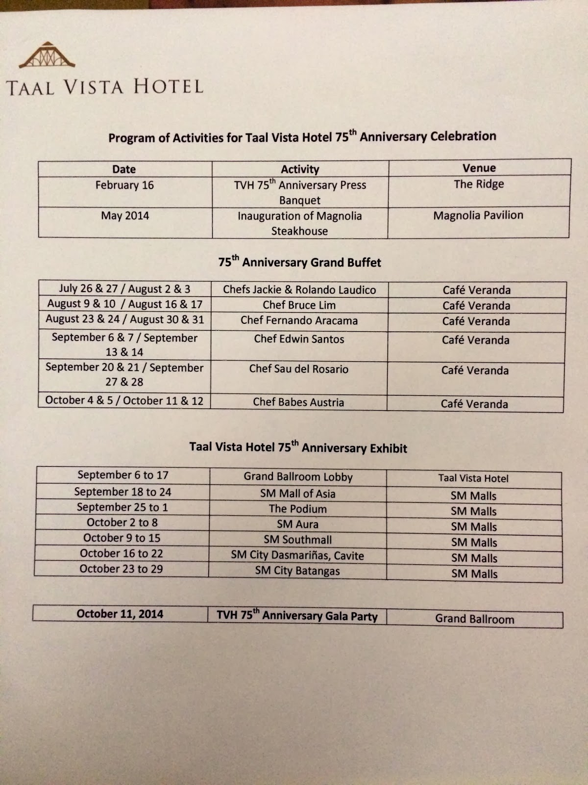 taal vista 75th anniversary complete schedule