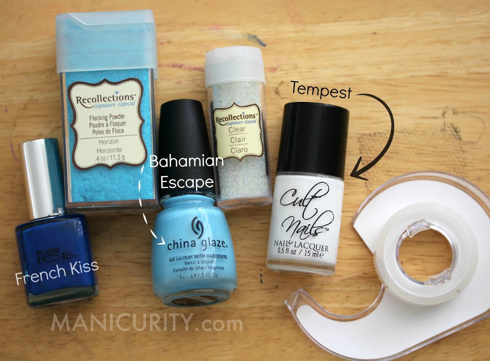 The Digit-al Dozen: Fuzzy & Beaded Blue Texture Patchwork Nails | Manicurity