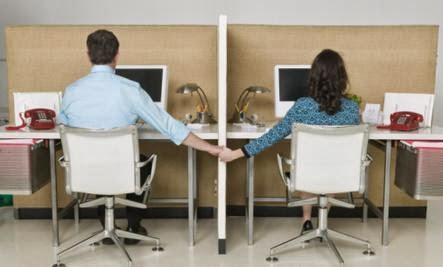 Is Office Romance Ever OK - man woman work desk chair abuse love cheating