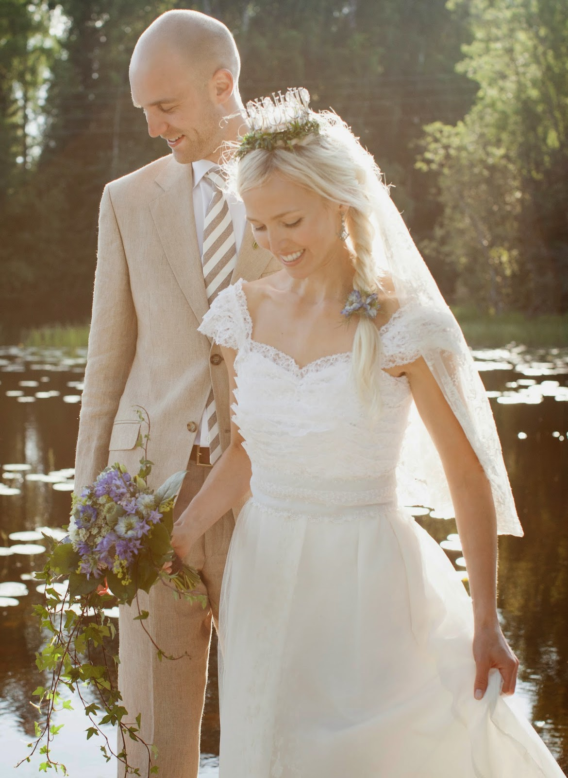 Martina In Vintage Lace Wedding Dress And Traditional Swedish Bridal Crown