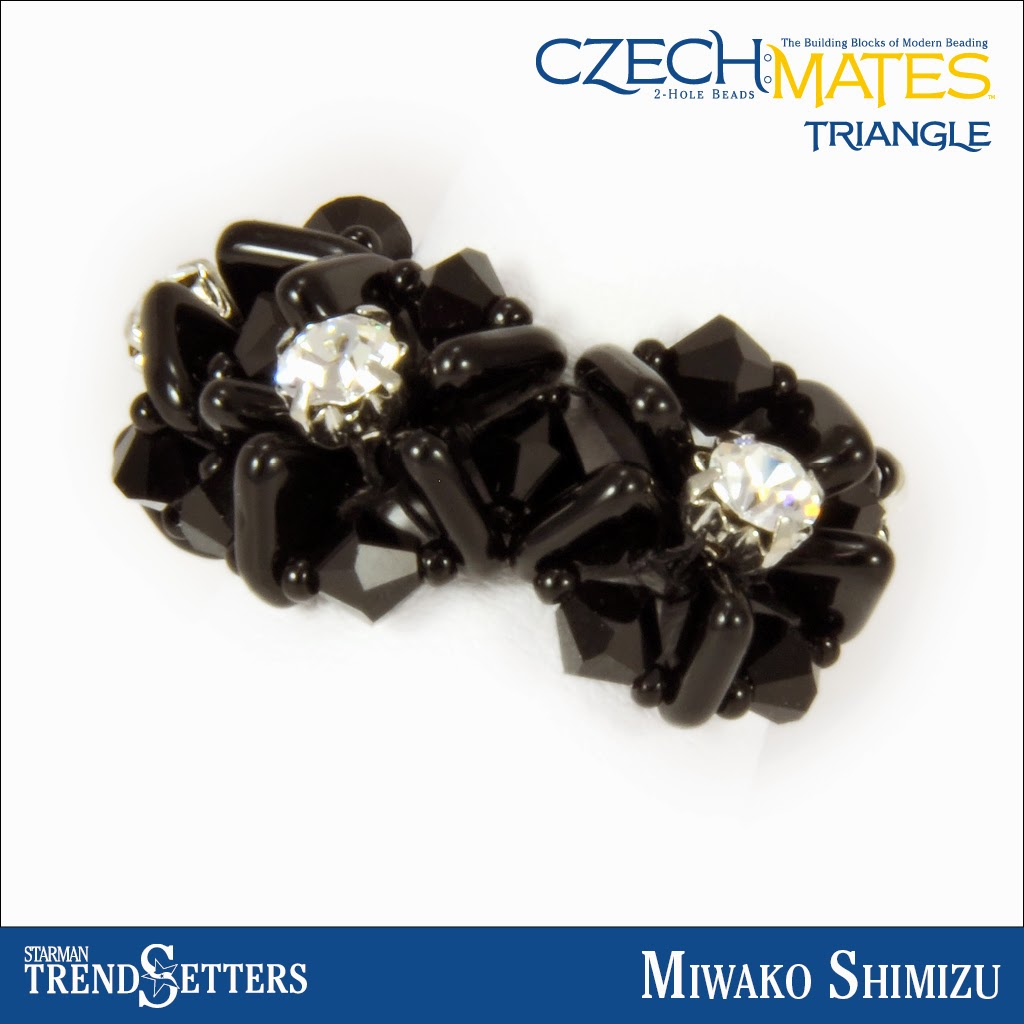 CzechMates Triangle beaded ring by Starman TrendSetter Miwako Shimizu