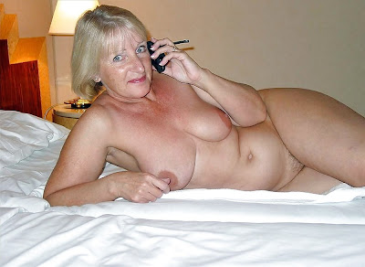 blonde mature on the phone