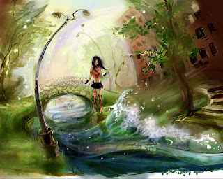 River Girl Artist Painting High Resolution Pictures