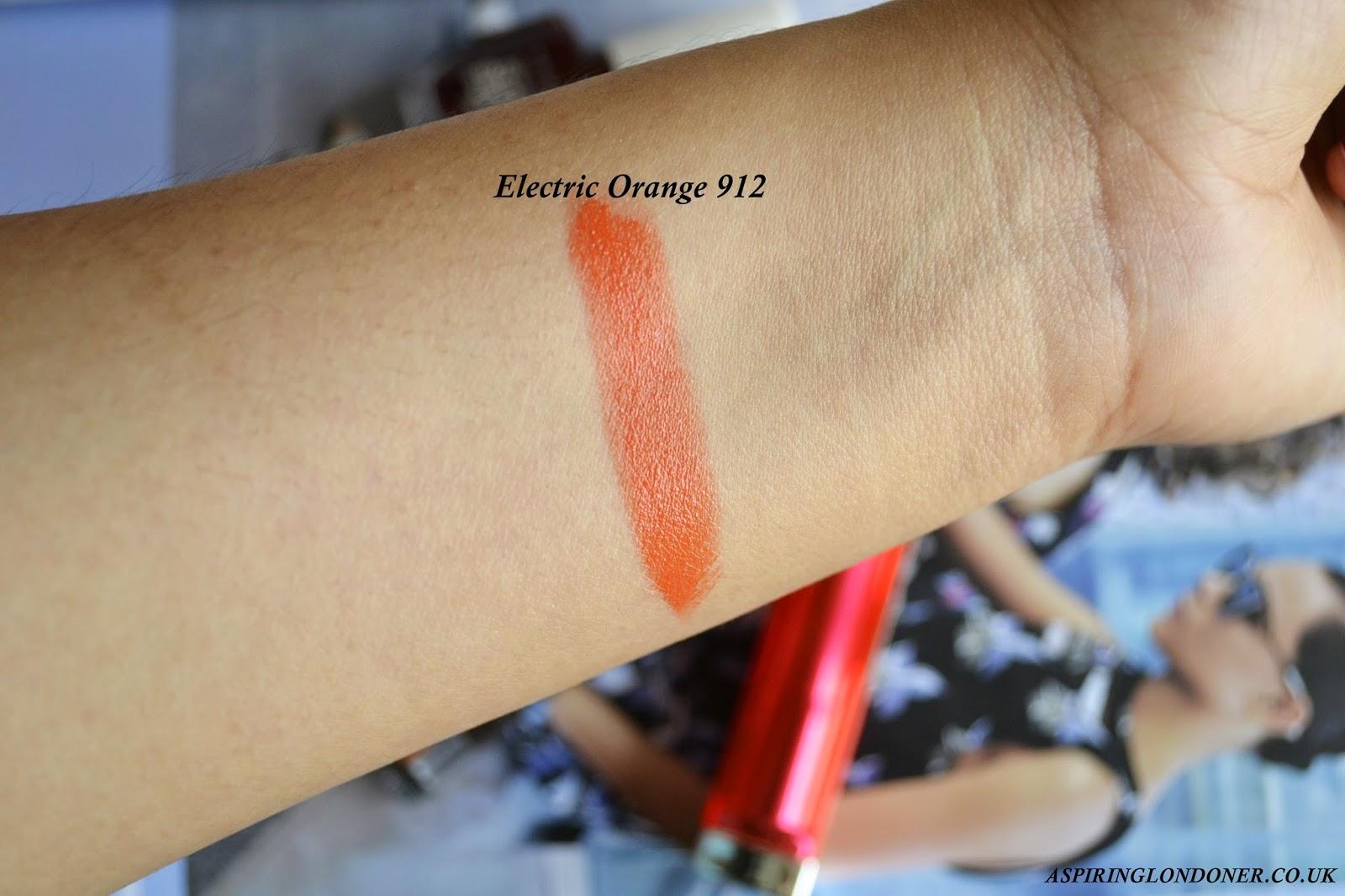 Maybelline Color Sensational Vivids Lipstick Electric Orange 912 Swatch - Aspiring Londoner