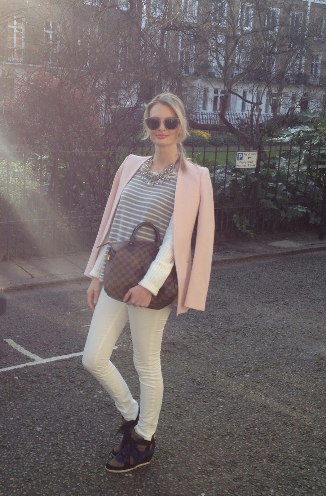 Spring, spring outfit, spring pastels, pink blazer, pastel pink blazer, street style, fashion blogger london, deutscher mode blogger, miu miu sunglasses, white jeans, j brand jeans, gap jumper, striped jumper, wedge trainers, ash wedge trainers, lv, louis vuitton, look book spring, look book 2014, zara look boog