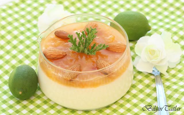 şeftali soslu irmikli tatlı