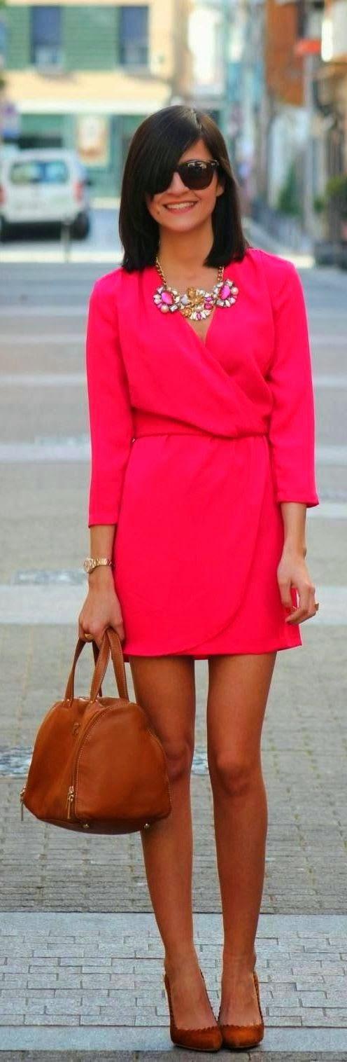 Stylish Necklace And Pink Wrap Mini skirt