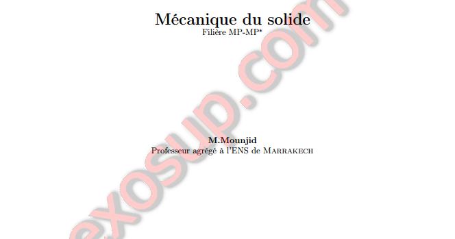 Cours M U00e9canique Du Solide Mp