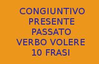 CERCO 10 FRASI CON L'UTILIZZO DEL VERBO VOLERE AL CONGIUNTIVO PRESENTE E PASSATO