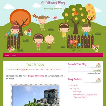 Childhood Blog blogger template for kid blog template with cute background