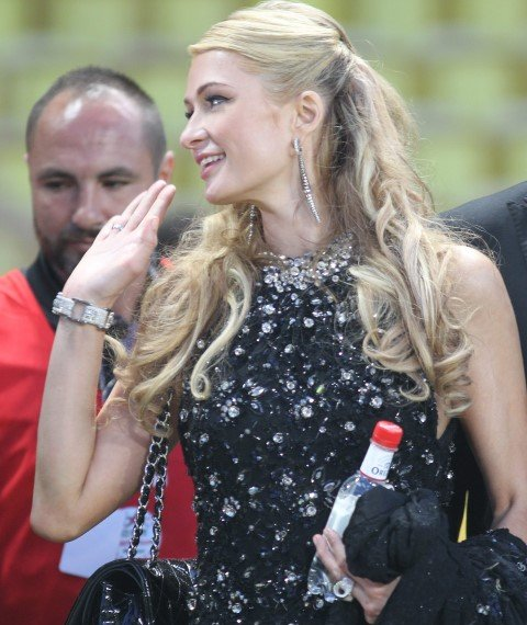 Prince Albert II of Monaco chats to Paris Hilton during the 22nd World Stars football match at the Stade Louis II in Monaco