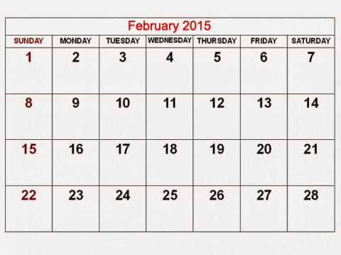 FACT: February 2015 fills and fits calendar perfectly