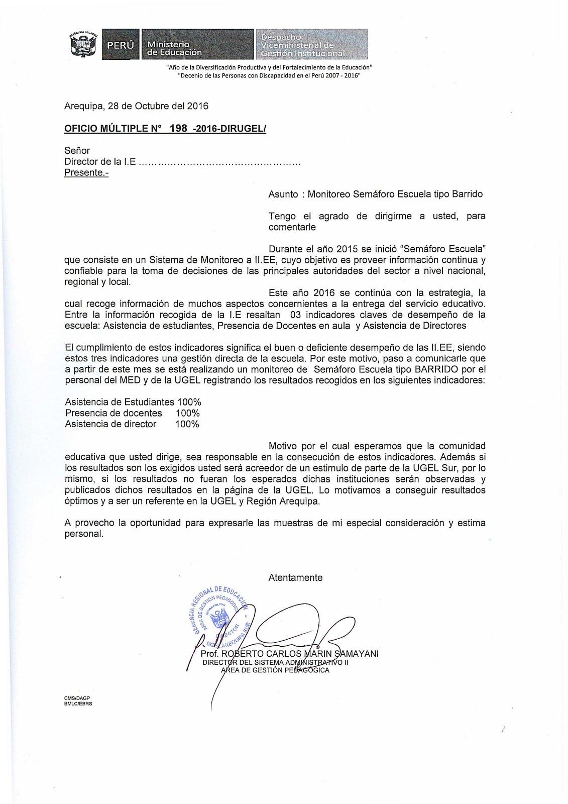 OFICIO MÚLTIPLE N°198 - 2016