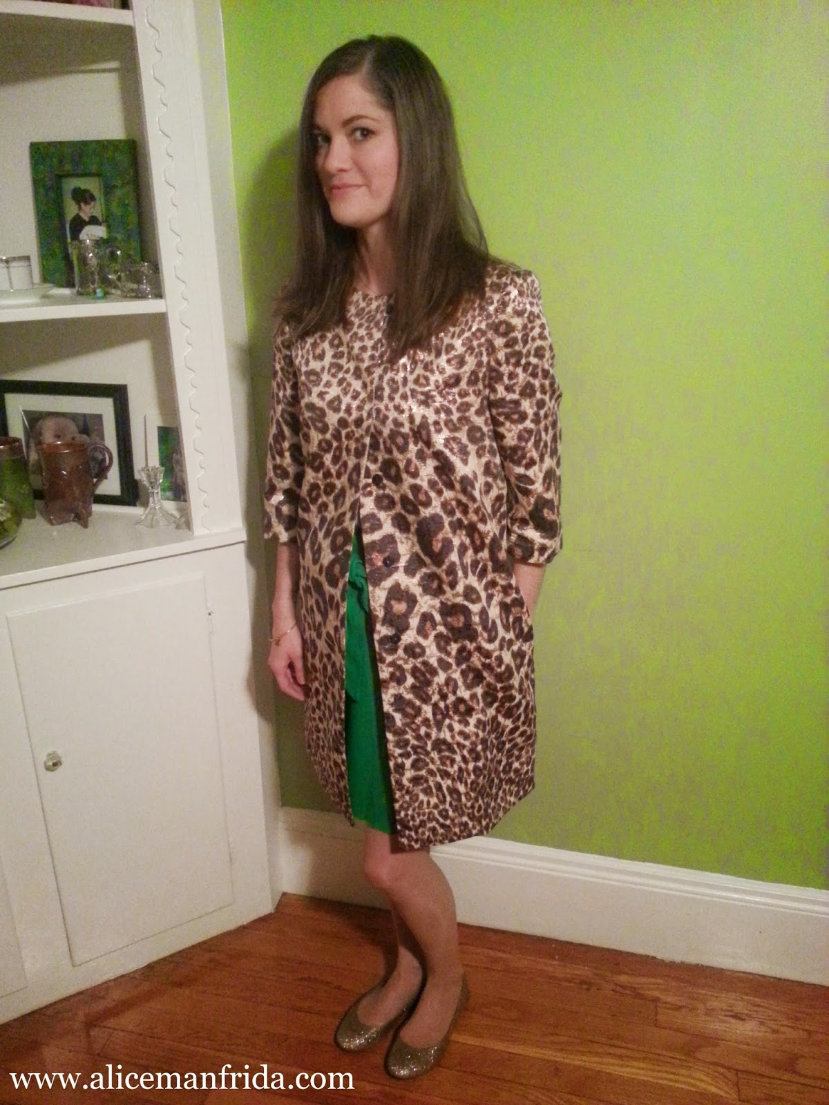 Leopard, Statement-Coat, gold-flats