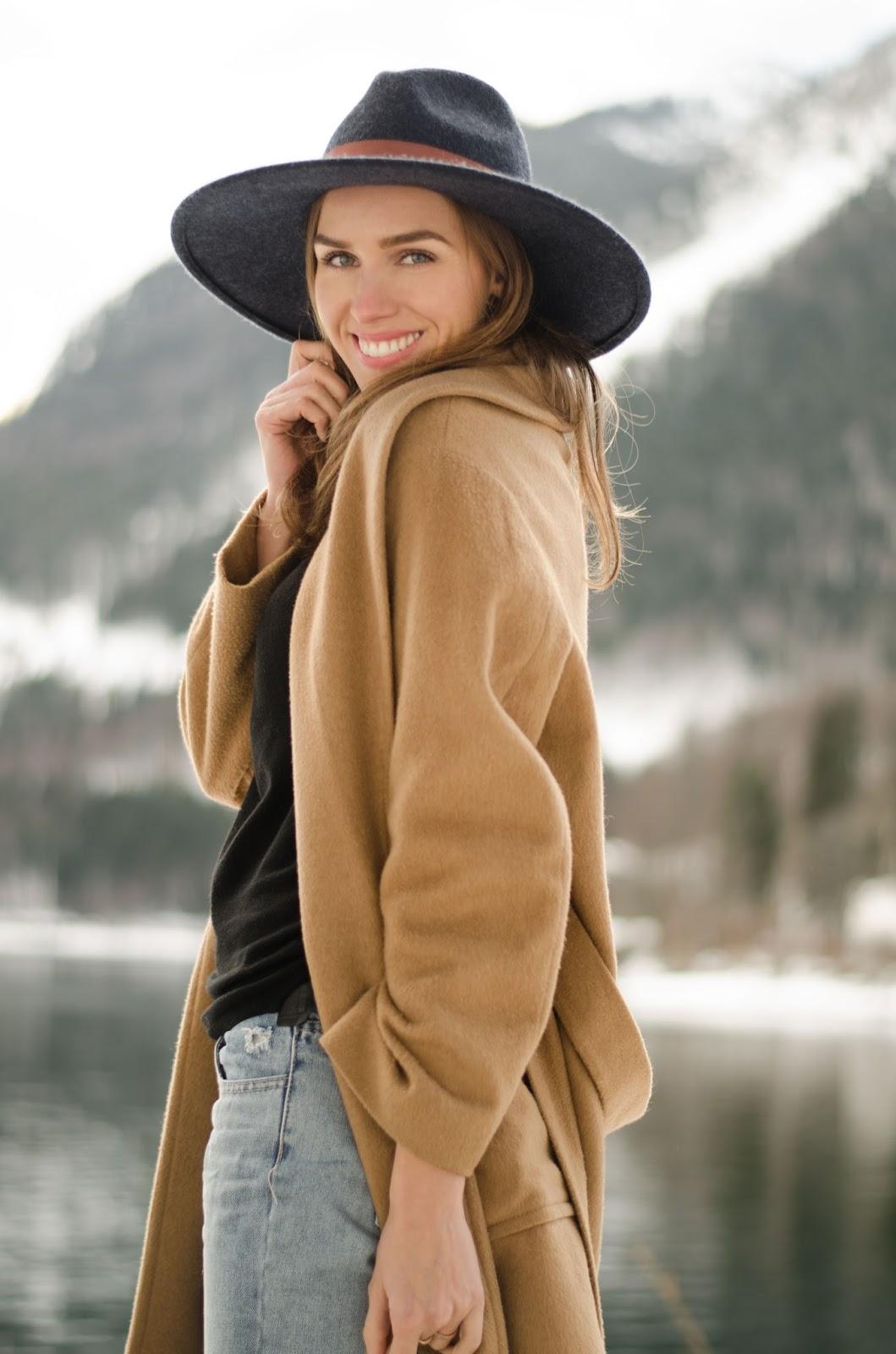 kristjaana mere fedora camel coat winter casual outfit