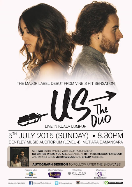 US THE DUO LIVE IN KUALA LUMPUR 2015  5th July 2015 8.30pm Bentley Music Auditorium (Level 4) Mutiara Damansara