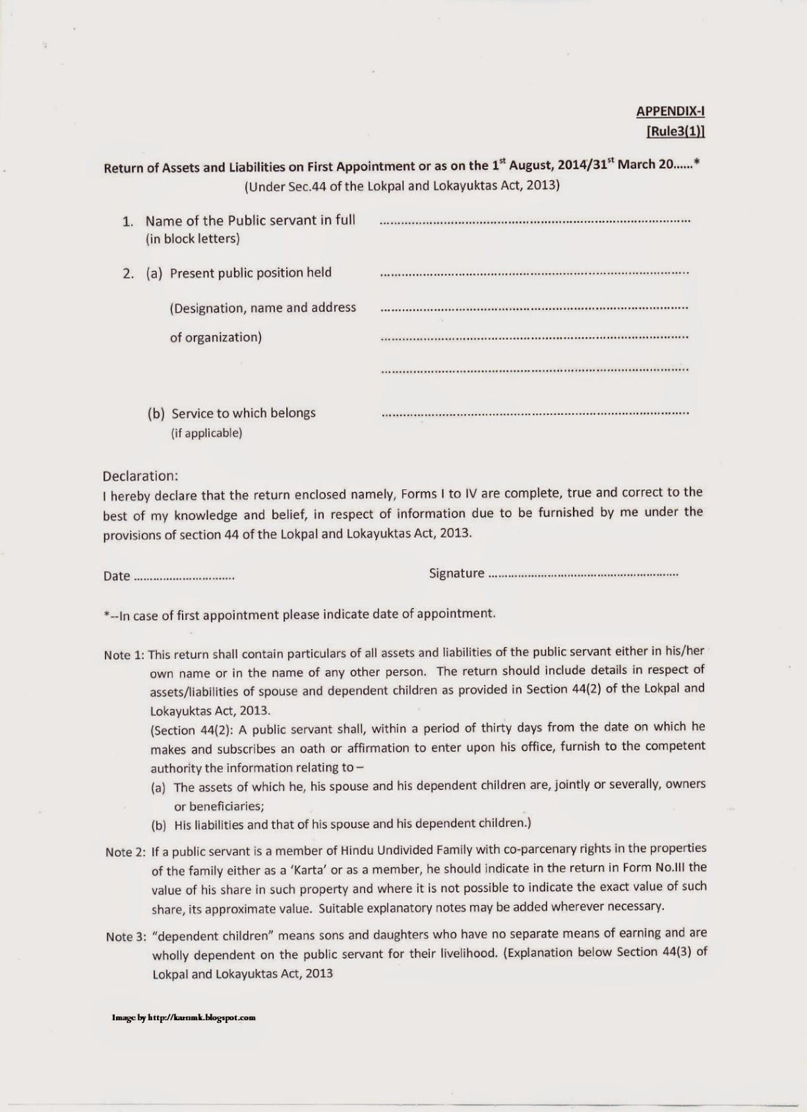 Revised Format Submission of declaration of assets and – Employee Declaration Form