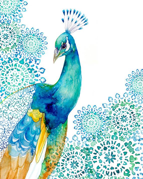The Funky Monkey Bella Bunny Peacock Garden Print