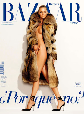 Carmen Kass pose nude for January 2013 Harper's Bazaar Spain Cover