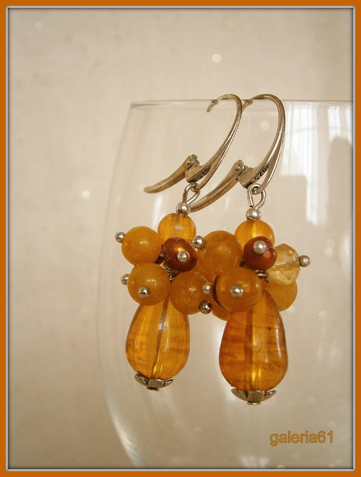 kolczyki żółte - nefryt, perły, Svarowski, szkło, srebro