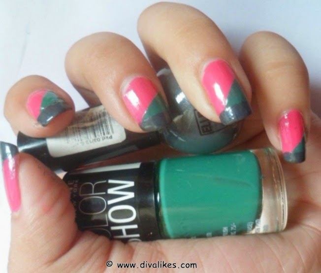 Color block nail art tutorial diva likes color block nail art tutorial prinsesfo Images