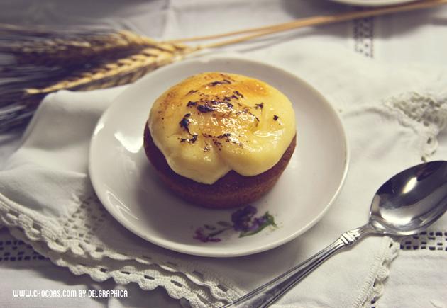 Pastelito de galleta bretona con crema catalana