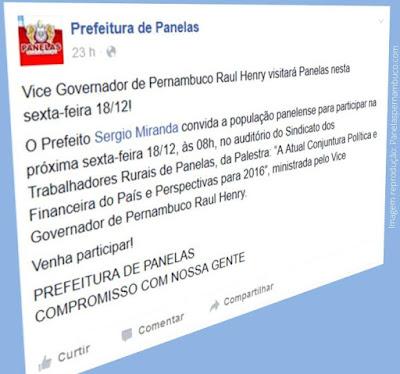 """Raul Henry apresentará palestra sobre """"A Atual Conjuntura Política e Financeira do País e Perspectivas para 2016"""" em Panelas-PE"""