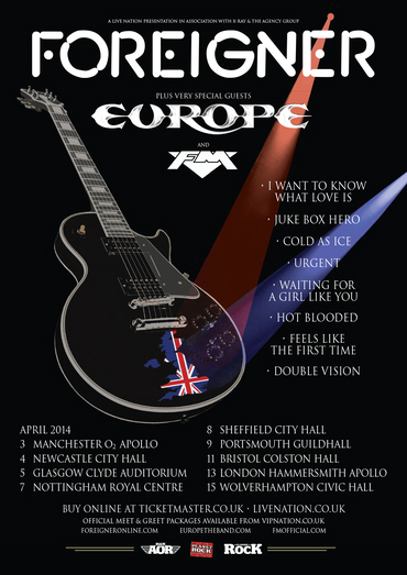 Foreigner / Europe / FM - UK tour 2014 poster
