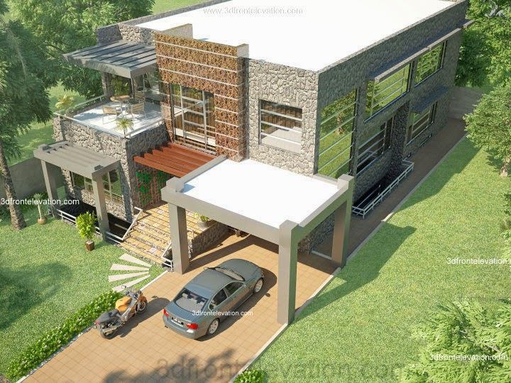 3d front beautiful modern 1 kanal home for Canal front home designs